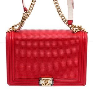 Chanel Bags - Chanel Red Waffle Quilted Large Cube Boy Bag